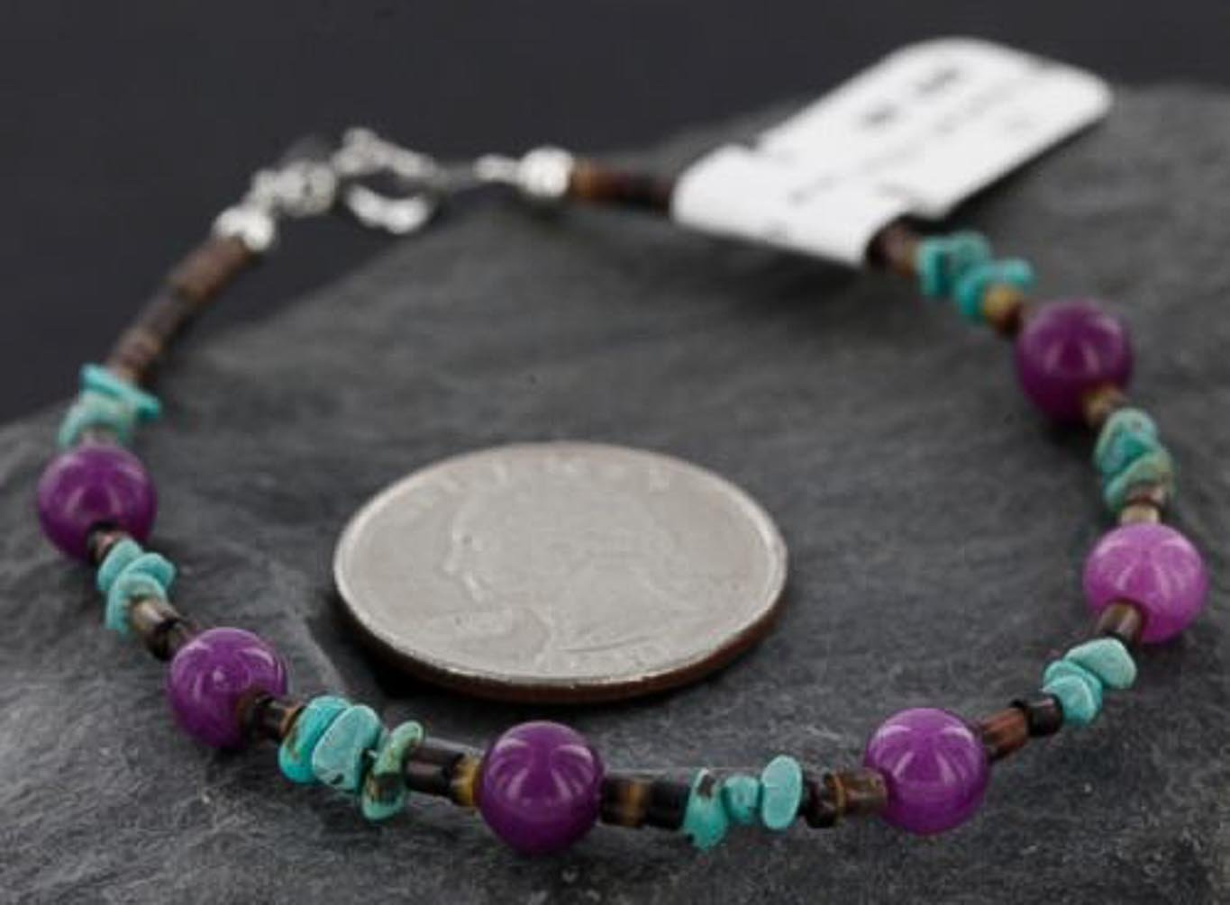 Certified Authentic Navajo .925 Sterling Silver Natural Turquoise and Purple Jade Native American Bracelet
