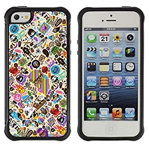 Hybrid Anti-Shock Defend Case for Apple iPhone 5 5S / Cool & Cute Tatto Pattern