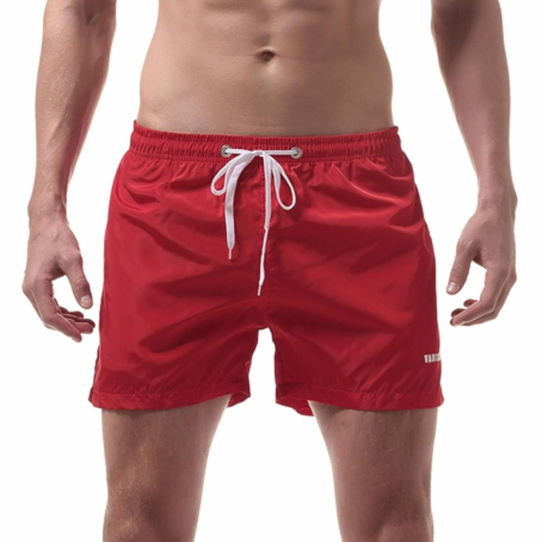 Longay Men's Shorts Swim Trunks Quick Dry Beach Surfing Running Swimming Watershort Knickers (L, Red)