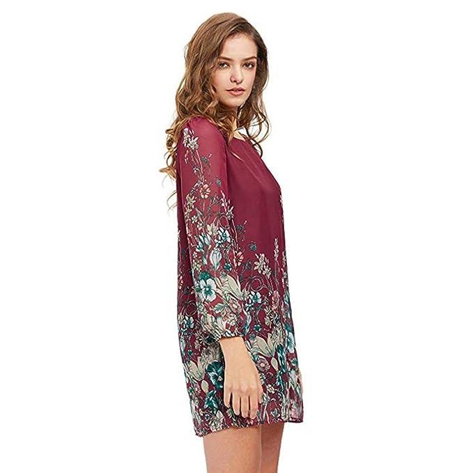 Mujer blusa vestido manga larga casual verano y Otoño,Sonnena Vestido de tres cuartos del vestido del cuello del vestido del botón de bolsillo de la raya ...