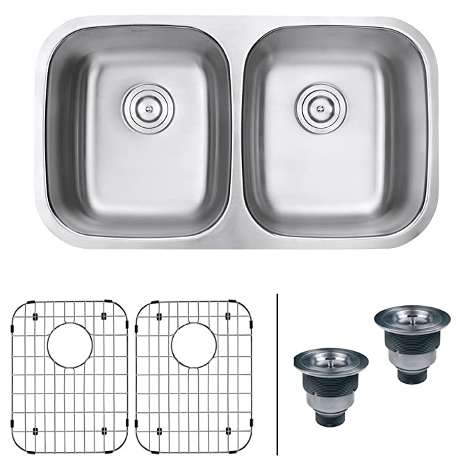 Best Double Bowl Kitchen Sinks Ruvati 32-inch Undermount 50/50 Double Bowl Kitchen Sink - RVM4300