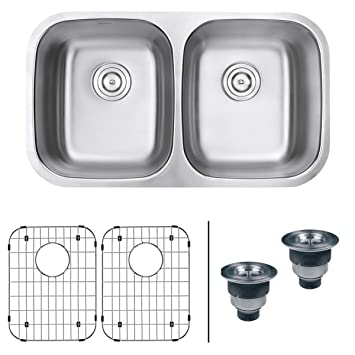 ruvati rvm4300 undermount 16 gauge 32 u0026quot  kitchen sink double bowl stainless steel ruvati rvm4300 undermount 16 gauge 32   kitchen sink double bowl      rh   amazon com