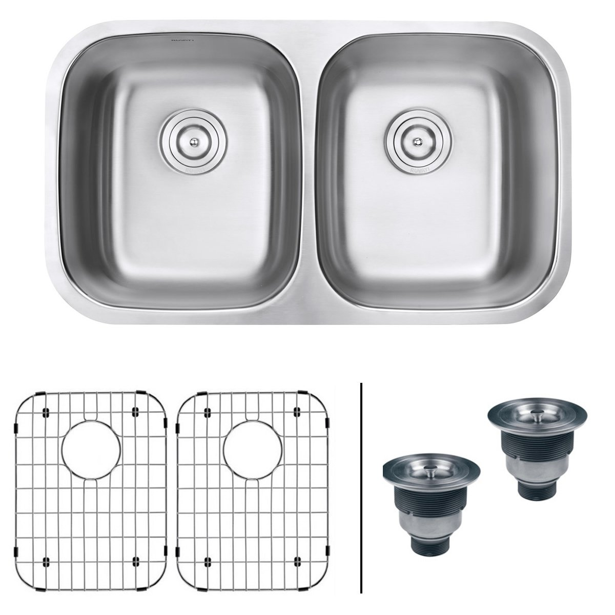 Ruvati RVM4300 Undermount 16 Gauge 32'' Kitchen Sink Double Bowl, Stainless Steel by Ruvati