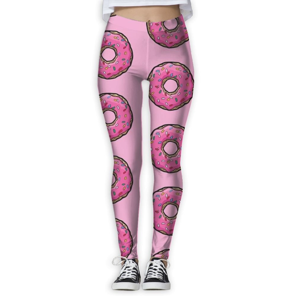 Women's Skinny Yoga Pants Pink Donut Fashion Jogger Pants Workout Running Leggings
