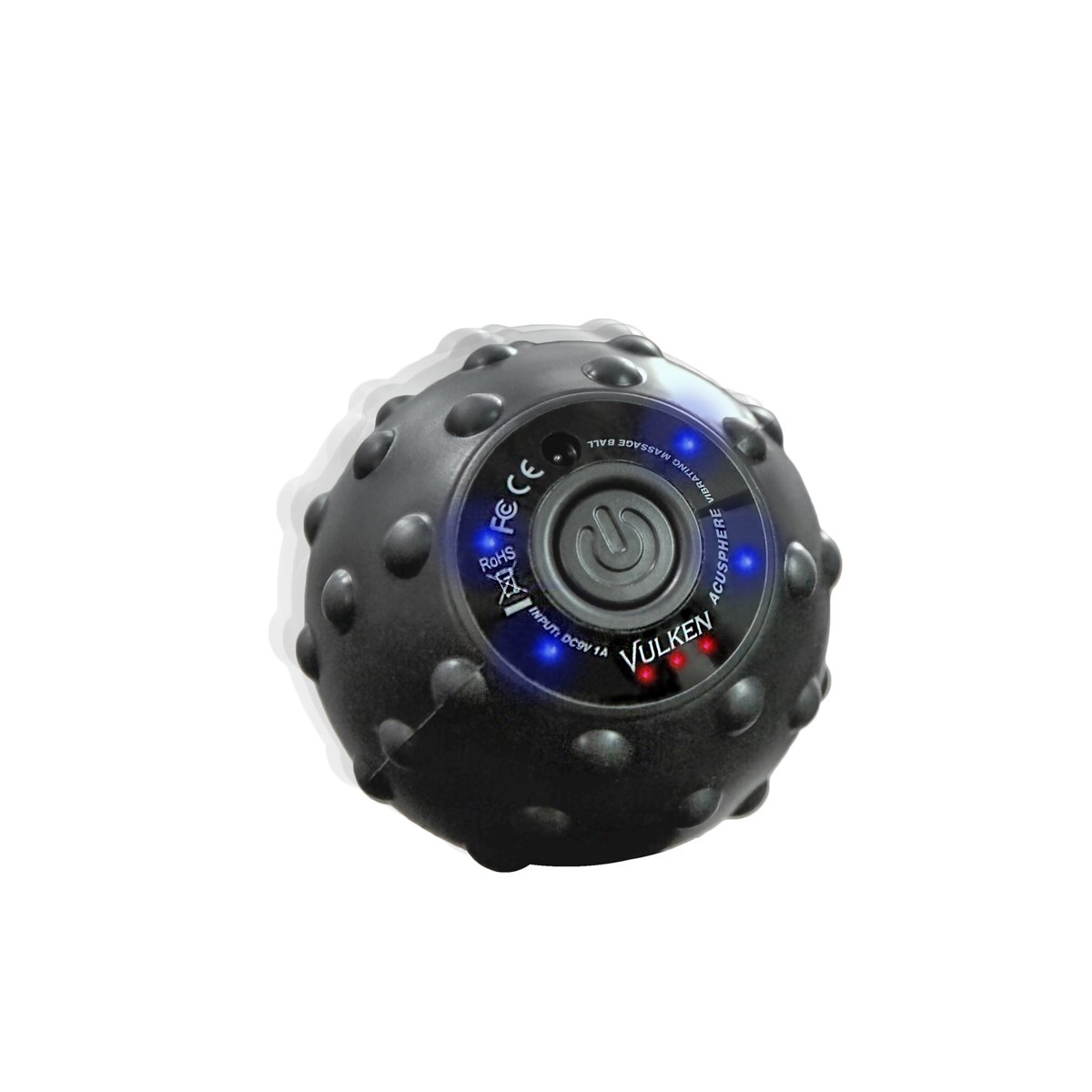 Vulken Acusphere 4 Speed High Intensity Vibrating Massage Ball for Muscle and Fitness, Plantar Fasciitis Pain Relief, Myofascial Release and Trigger Point Treatment (Black (Long Press))