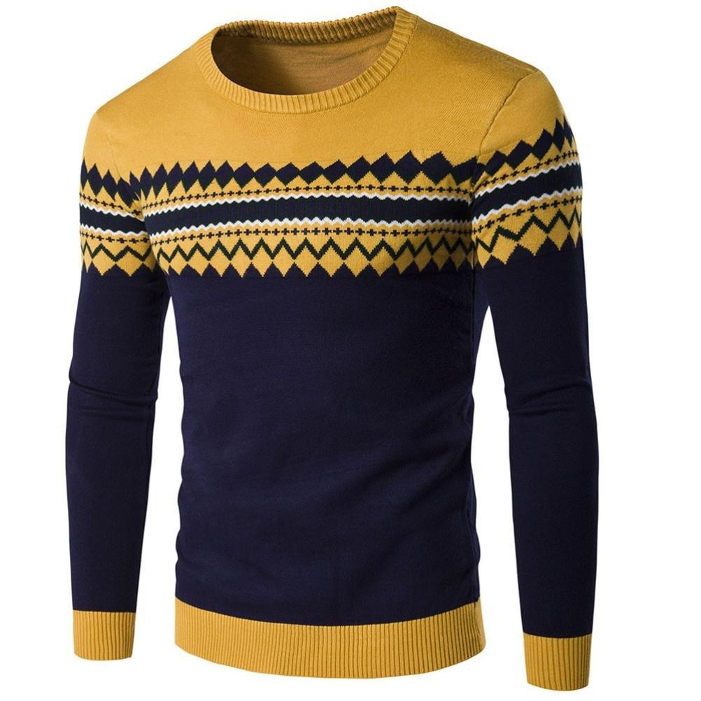 Suéter de hombre Invierno Manga larga Suéter casual Jersey de punto caliente Sudaderas de moda masculina LMMVP (L, Amarillo)