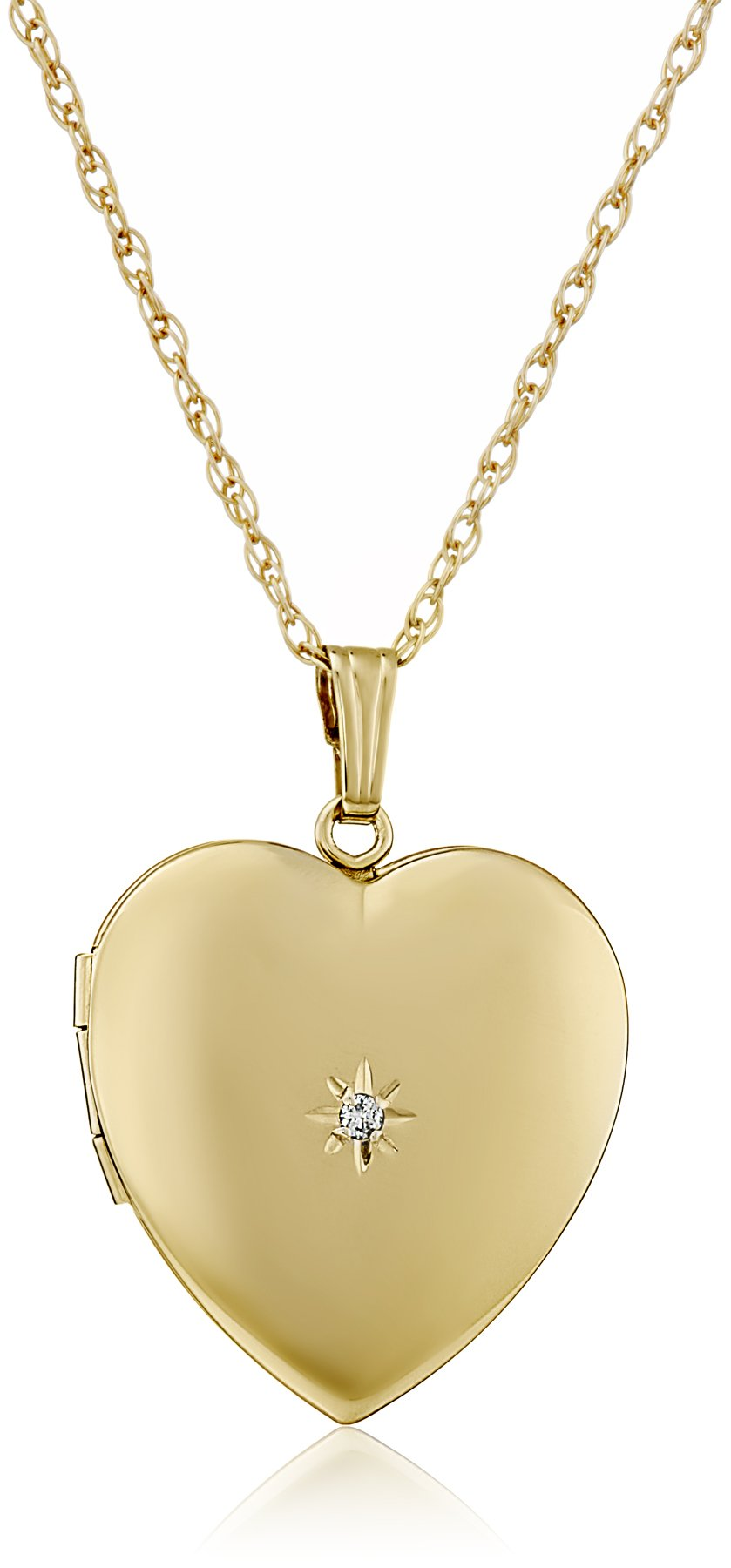 14k Yellow Gold-Filled Diamond-Accent Heart Locket Necklace, 20''