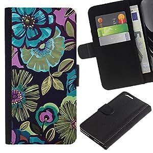 [Neutron-Star] Modelo colorido cuero de la carpeta del tirón del caso cubierta piel Holster Funda protecció Para Apple (5.5 inches!!!) iPhone 6+ Plus / 6S+ Plus [Pintura azul de las flores Dibujo]