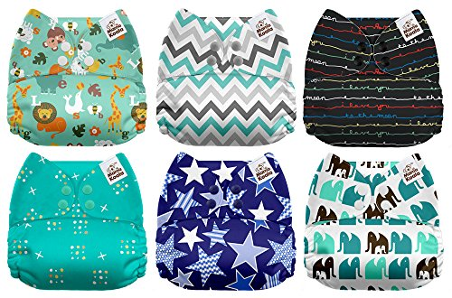 Fitted Diaper Cloth (Mama Koala One Size Baby Washable Reusable Pocket Cloth Diapers, 6 Pack with 6 One Size Microfiber Inserts (Jagger))