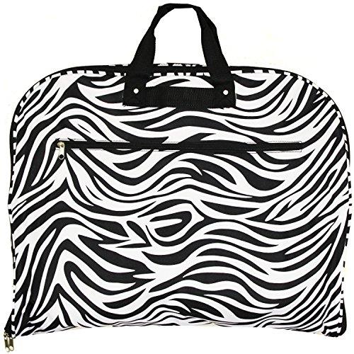 World Traveler 40 Inch Hanging Garment Bag, Black Trim Zebra, One Size