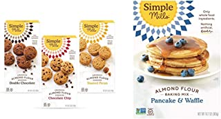 product image for Simple Mills, Cookies Variety Pack, Chocolate Chip, Double Chocolate Chip, Toasted Pecan Variety Pack, 3 Count (Packaging May Vary) & Almond Flour Pancake Mix & Waffle Mix, Gluten Free