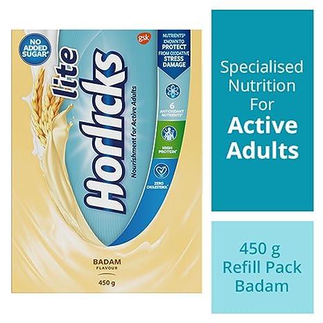 Horlicks Lite Health & Nutrition drink - 450 g Refill pack (Badam flavor)