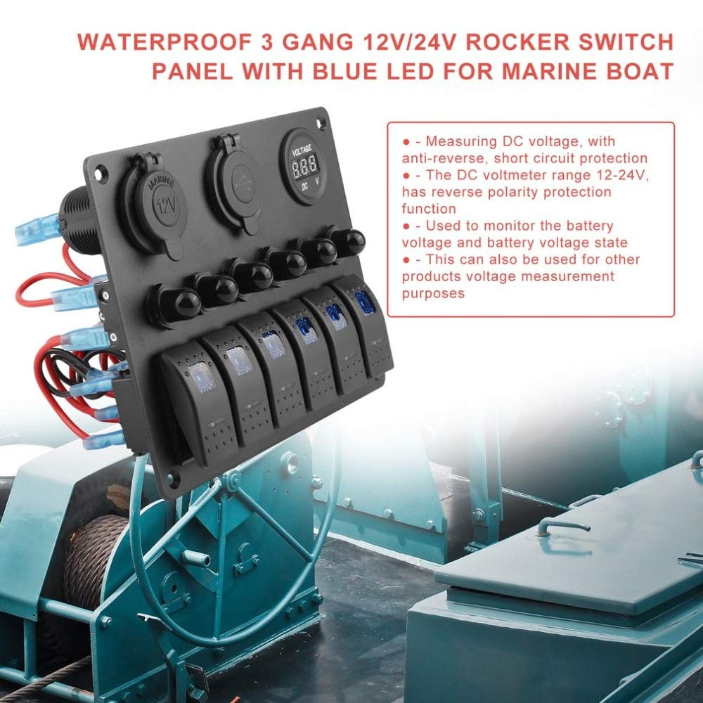 Cocas 6 Gang Waterproof Car And Marine Switch Auto Reverse Polarity Hooked To Timer Help For Novice Boat Led Rocker Panel Circuit Breakers Voltmeter Switches Sports