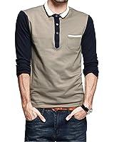 Sansi Mens Polo Shirt Long Sleeve Collared Lapel Casual Jersey T-Shirt