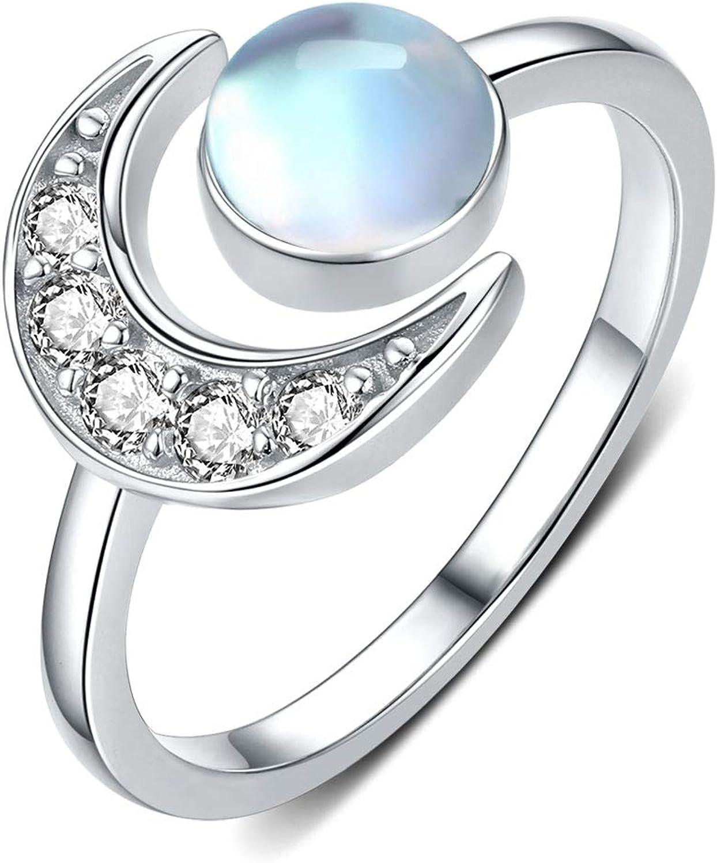 Anillo de luna Plata de Ley 925 Anillos con Piedra de luna para Mujer Anillo Abierto Ajustable para mujer y Niñas