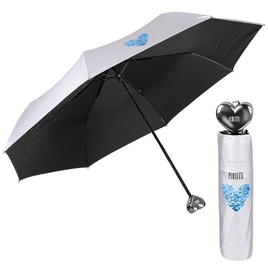 Paraguas de Mujer de Viaje con Mango de corazón - Mini Perletti - Paraguas Compacto y Ligero para Bolso - Manual - 97 cm de diámetro - Plateado Monocolor ...