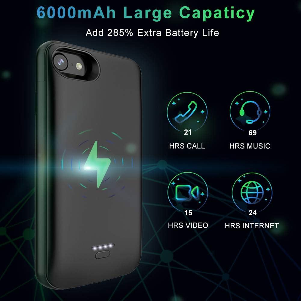 Atokit – Funda de batería para iPhone 6 6S 7 8, 6000 mAh, batería de carga portátil, batería externa para iPhone 8/7 ...