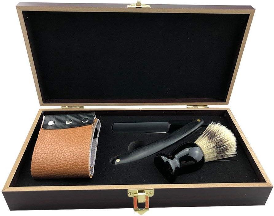 Leisuretime Conjunto de Afeitar, Vintage Caja de Madera Barba Kit de Aseo para Hombres Afeitado de Afeitar con Cepillo de Afeitar de Pelo Natural Cuero de Vaca Vaca Strop