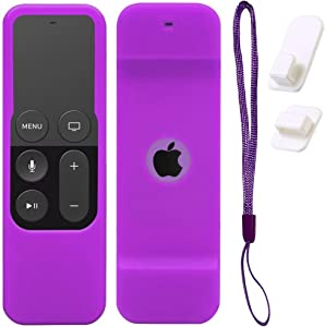 Case for Apple TV 4K/5th and 4th Gen Remote, Purple Silicone Skin Protective Cover for Apple TV Siri Remote - Includes Free Wall Self Adhesive Hook Holder and Wrist Strap. by Gesoon