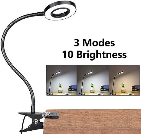 LED Lámpara De Mesa Escritorio, Luz De Lectura Con Abrazadera USB ...