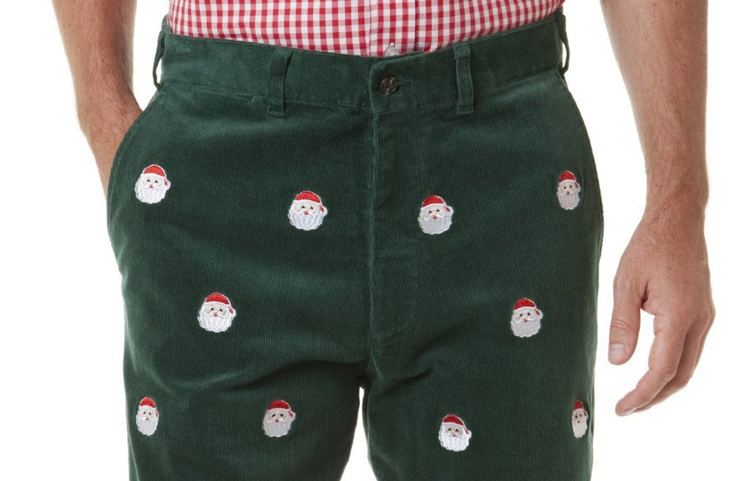 THE FINE SWINE Embroidered Holiday Pants Green With Santa Claus (33)