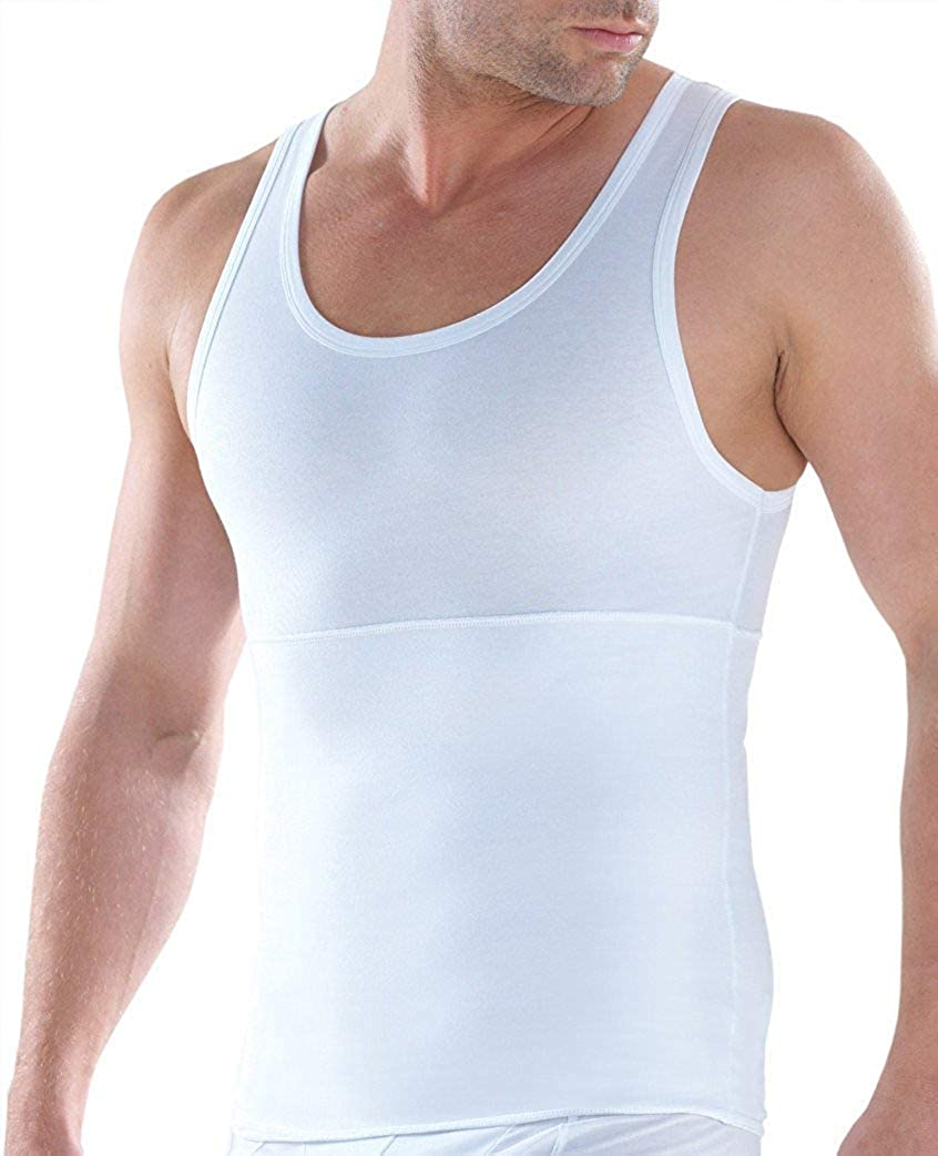 White XX-Large Slimming Control Vest Compression Body Shaper Top Round Neck