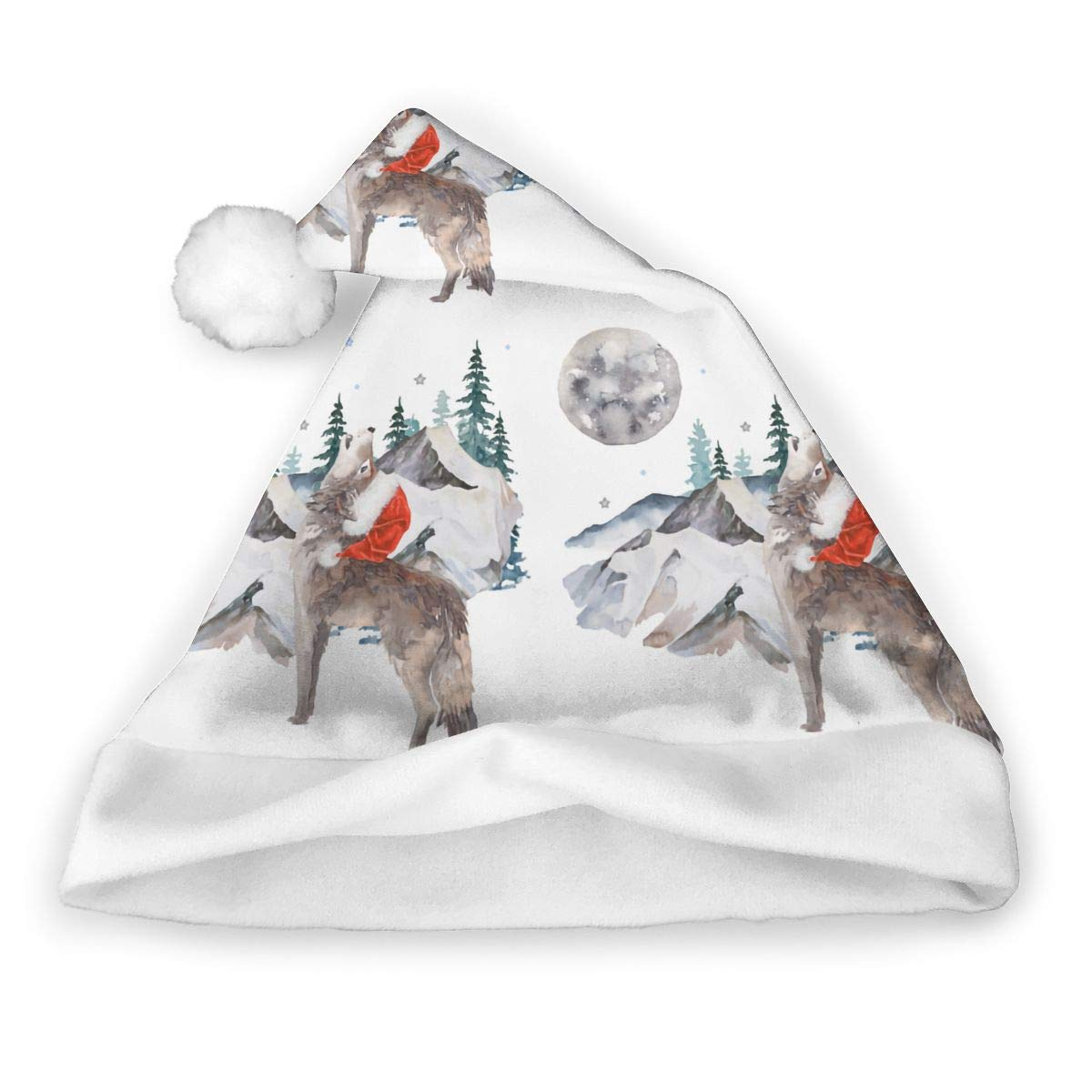 Wolf Winter Santa Unisex Santa Hat Christmas Cap Adults Children Costume Hat