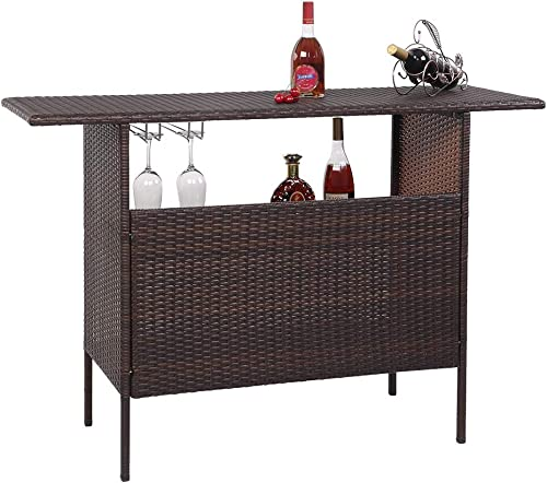VINGLI Outdoor Wicker Bar Table with 2 Steel Shelves, 2 Sets of Rails, Rattan Bar Counter Table for Backyard, Poolside, Garden