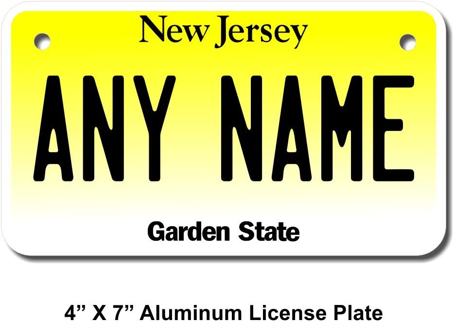 Cars Sizes for Kids Bikes Trucks Cart TEAMLOGO Personalized New Jersey License Plate Key Rings Version 1