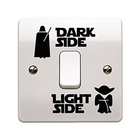 Star wars dark side light side light switch vinyl decal sticker uk made