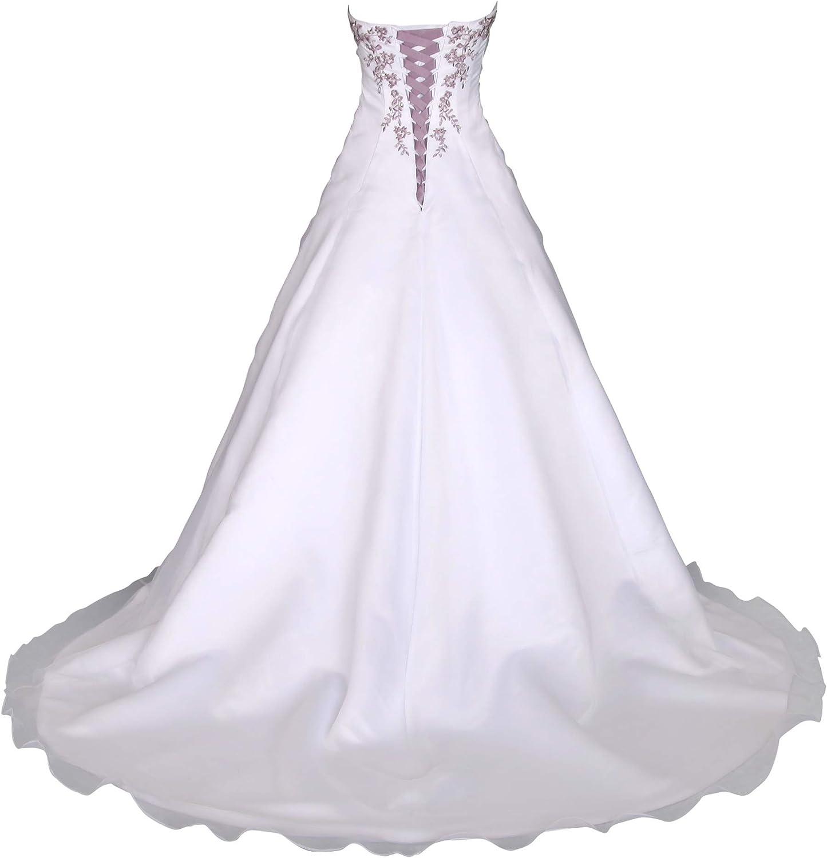 Romantic-Fashion Brautkleid Hochzeitskleid Weiß/Lila Modell W20 A-Linie  Satin Stickerei Zweifarbig DE