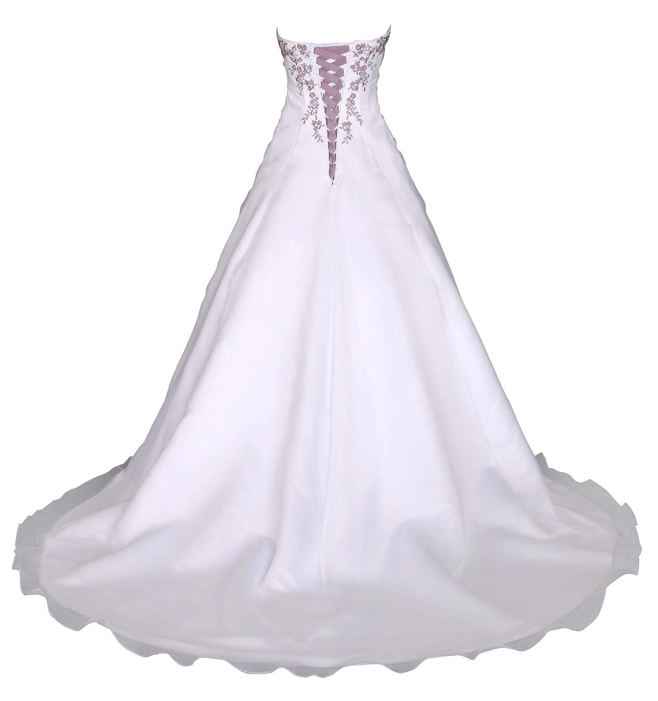 Romantic-Fashion Brautkleid Hochzeitskleid Weiß/Lila Modell W19 A