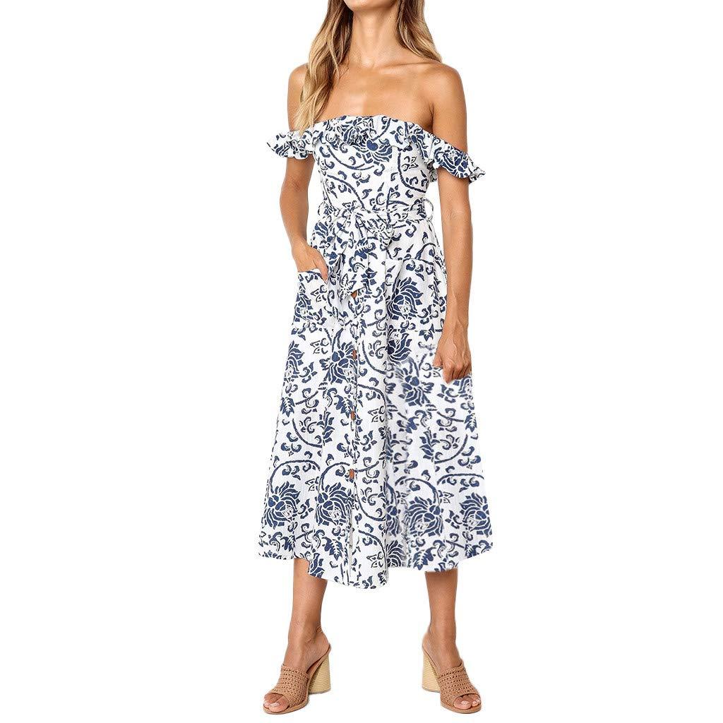Libermall Women's Dresses Ruffle Off Shoulder Boho Printed Beach Sundress Evening Party Long Dress White