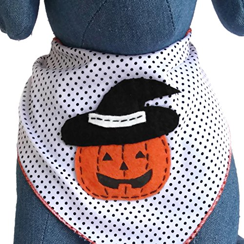 Halloween Dog Bandana with Pumpkin Witch Applique 100% Cotton