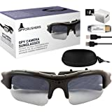 SpyCrushers Spy Camera Sunglasses - Best Wearable Spy Cam Mini DVR - Includes Camera Glasses Case, Cleaning Cloth, Micro SD Card Adapter, Micro 2.0 USB Cable, USB Charger & 4-N-1 Card Reader