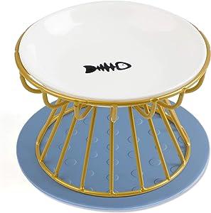 Dorakitten Cat Bowl-Raised Cat Food Bowl ,Elevated Cat Feeder Bowl Stand, Food & Water Anti Vomiting Shallow Ceramic Cat Dish, with Non-Slip Mat Pet Bowl for All Cat