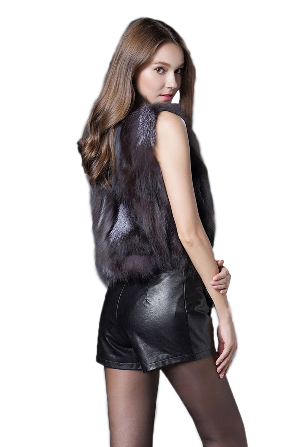 MAGUBA Women Short Style Real Silver Fox Fur Vest Cute Spell Fox Fur Gilet by MAGUBA