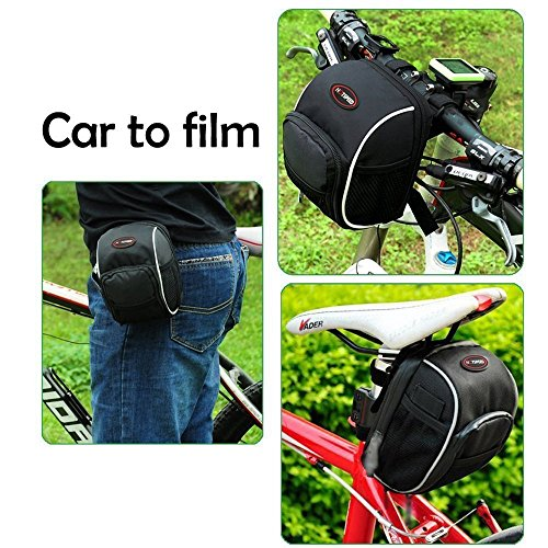 Bike Handlebar Bag, Bicycle Front Bags Cycling Waterproof Storage Under Seat Pack with Rainproof Cover Black by LC-dolida by LC-dolida (Image #5)