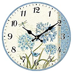 SkyNature Vintage Rustic Country Tuscan Style Arabic Numerals Wooden Decorative Round Wall Clock(12 in, 3Flower)