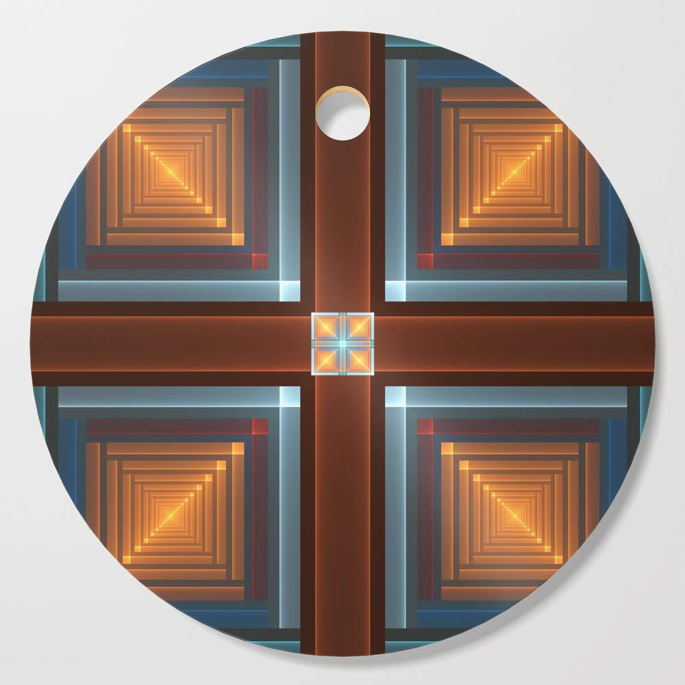Society6 Wooden Cutting Board, Round, Windows, Modern Luminous Fractal Art Graphic by gabiwart