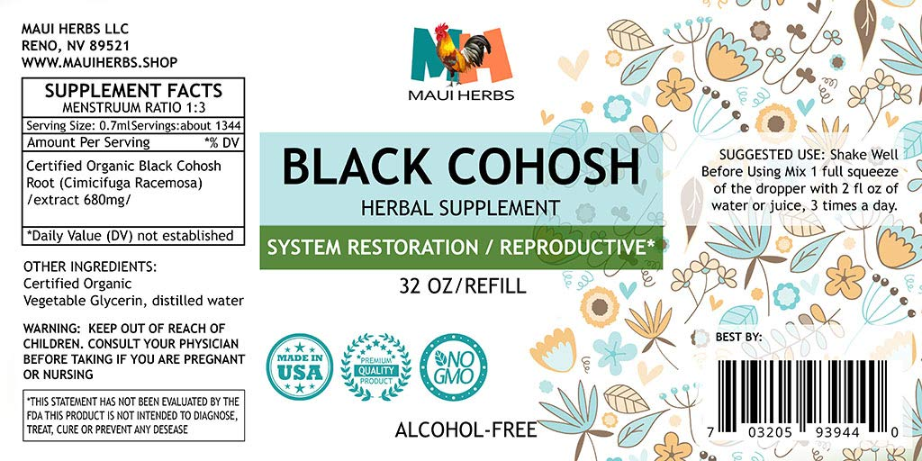 Black Cohosh Tincture Alcohol-Free Extract, Organic Black Cohosh Root (Cimicifuga Racemosa) (32 FL OZ) by Maui Herbs (Image #2)