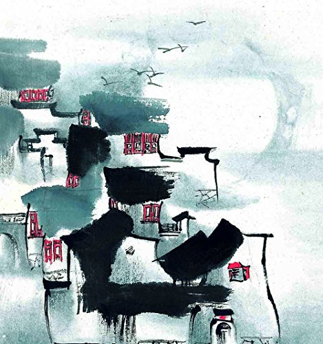 Canvas Print Unframed - Wu Guanzhong Traditional Chinese Village Paintings View of Jiangnan Watertown Watercolor Artwork Giclee Reproduction for Room Decor - 12 X 12 inch (30 by 30 cm) - Winter 09