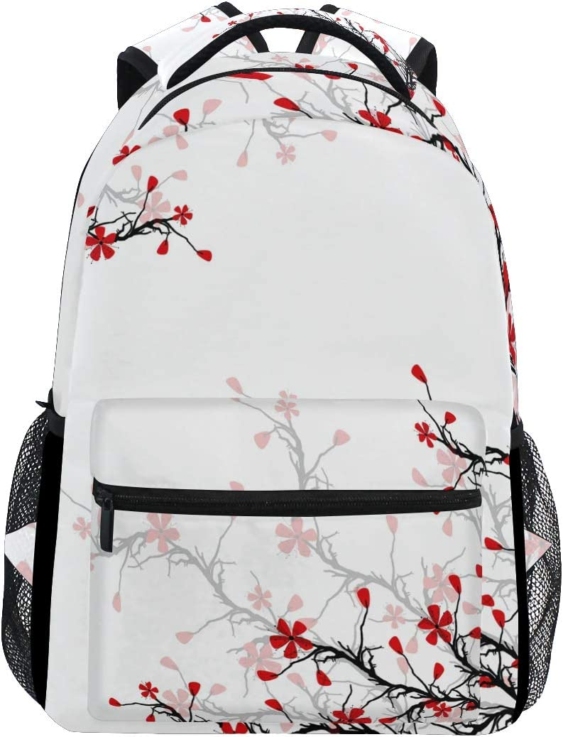ALAZA Japanese Cherry Blossom Sakura Large Backpack Personalized Laptop iPad Tablet Travel School Bag with Multiple Pockets for Men Women College