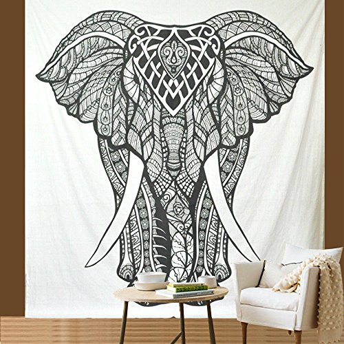 Indian-elephant Hippie-ethnic-bohemian-psychedelic Tapestry-black-and-white Queen-size-large-84x90