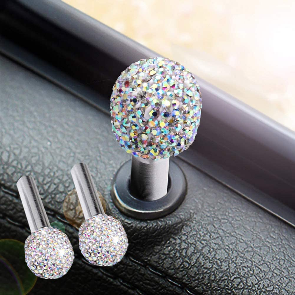 RENNICOCO Bling Bling Car Door Lock Pull Rod Bolt Cover Interior Trim Rhinestones Bling Car Accessories for Women Universal