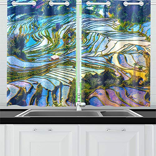 XINGCHENSS Yunnan City Free Travel Romantic Color Kitchen Curtains Window Curtain Tiers for Café, Bath, Laundry, Living Room Bedroom 26 X 39 Inch 2 Pieces ()