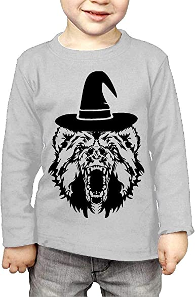 CERTONGCXTS Baby Boys Kids Bear with Witch Hat ComfortSoft Long Sleeve Tee