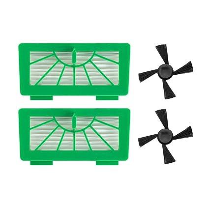 neutop verde HEPA filtro y lado cepillo Kit de repuesto para Vorwerk Kobold VR100 Robotic aspiradoras
