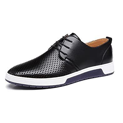 57cbd0776c5 JACKY S 2018 Men Casual Shoes Leather Summer Breathable Holes Luxury Brand  Flat Shoe (Women 6.5