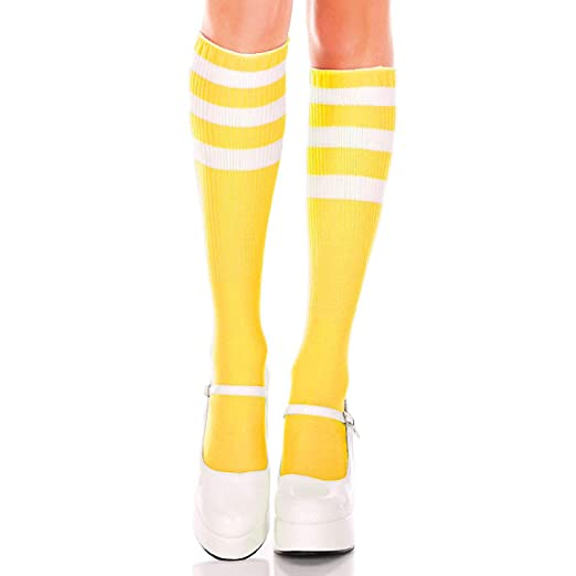 fa53fd05f Image Unavailable. Image not available for. Color  Music Legs 5726-YELLOW- WHITE Acrylic Knee High Socks with Striped ...